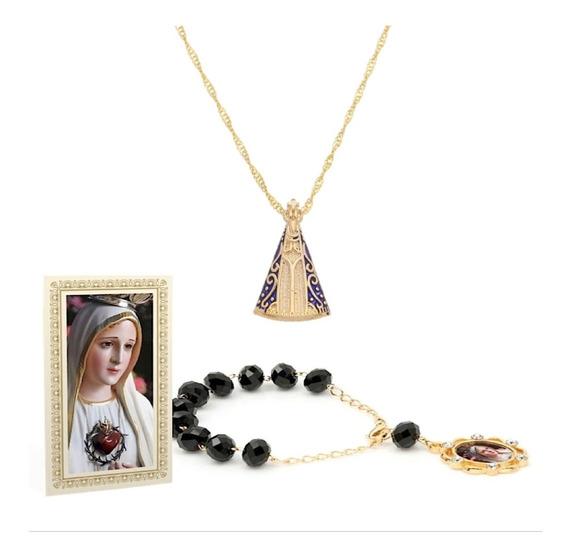 Pulseira Maria Cristal Folheado Ouro + Colar Nossa Senhora