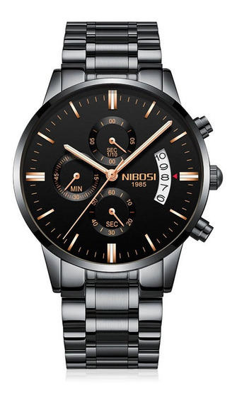 Relógio Nibosi Preto Original Cronógrafo 100% Funcional Luxo