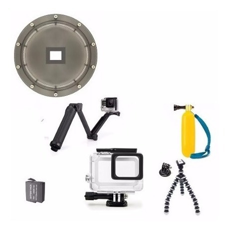 Kit Dome Go Pro Bateria Hero 5 6 7 Bastão 3 Way Tripé TriPod