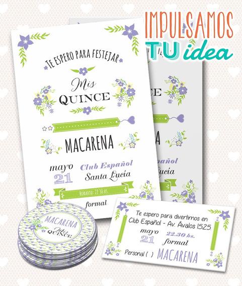 Tarjeta De Quince - Invitacion De Quince Macarena Imprimible