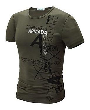 Camiseta De Hombre, Algodón, Estampado Cuello Redondo