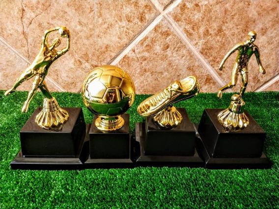 4 Troféus - Artilheiro Bola De Ouro Melhor Goleiro E Jogador