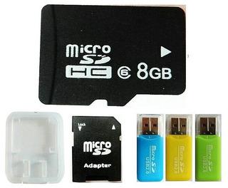 Micro Tarjeta Sd 8 Gb Con 3 Adaptadores Usb Gratis