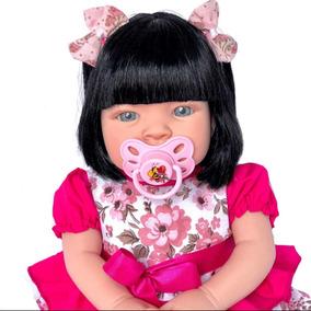 Boneca Bebê Real Reborn Menina + Chupeta Mamadeira Fralda