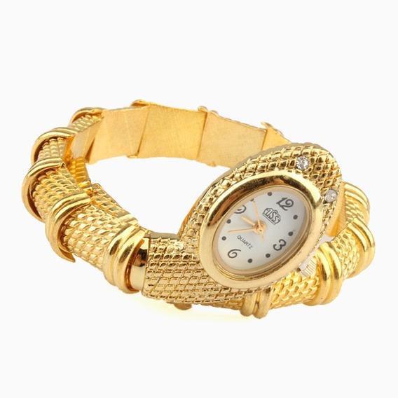Relógio Bracelete Formato Cobra Na Cor Dourado