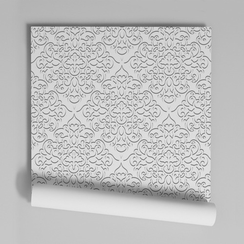 Papel De Parede Adesivo Damask Branco 1,00x0,50m - Dk-20