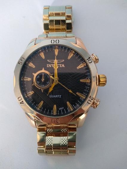 Relógio Masculino Analógico Dourado Importado Frete Grátis