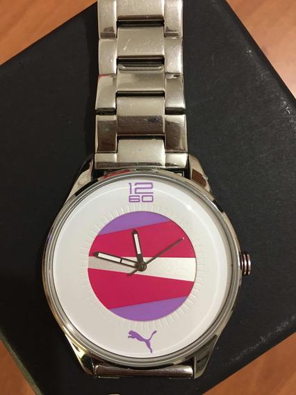 Reloj Dama Marca Puma Original Extensible Plata De Acero