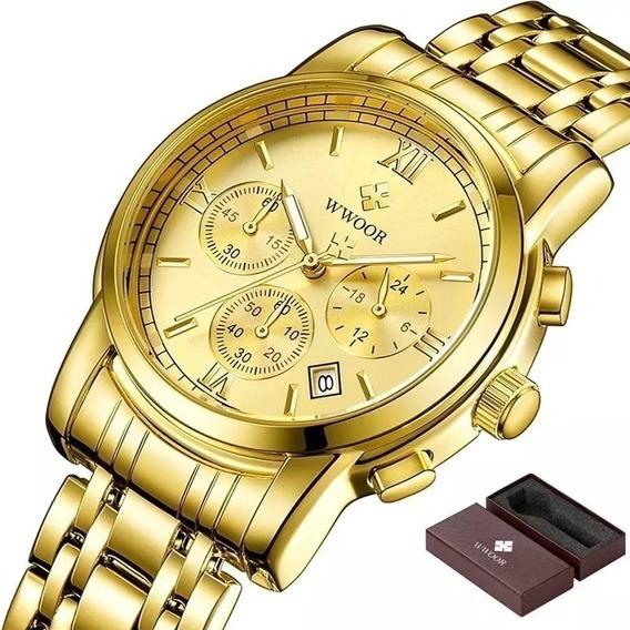 Relógio Pulso Wwoor 8864 Original Luxo Social Top Grande