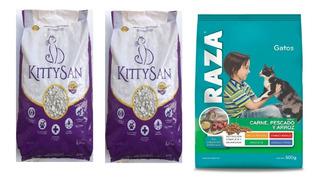 Pack Piedritas Piedras Sanitarias Gatos + Alimento Raza