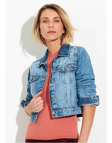 Jaqueta Jeans Feminina Cropped Com Aplicação Hering