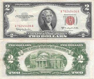 Billete Estados Unidos 2 Dolares Año 1953 Sello Rojo