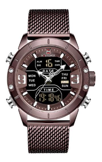 Relógio Masculino Naviforce 9153 Resistente Luz Led Alarme