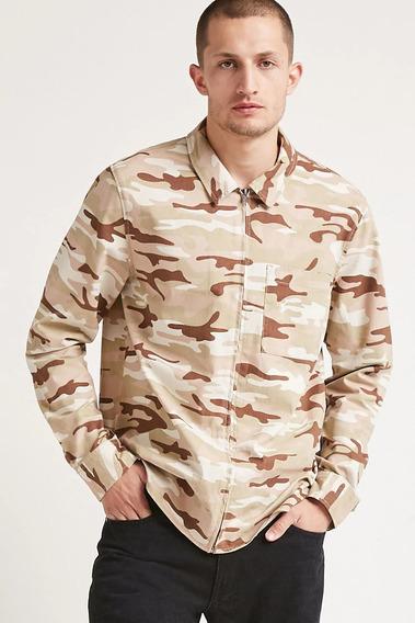 Forever 21 Camisa Hombre Chamarra Ligera Camuflaje Beige