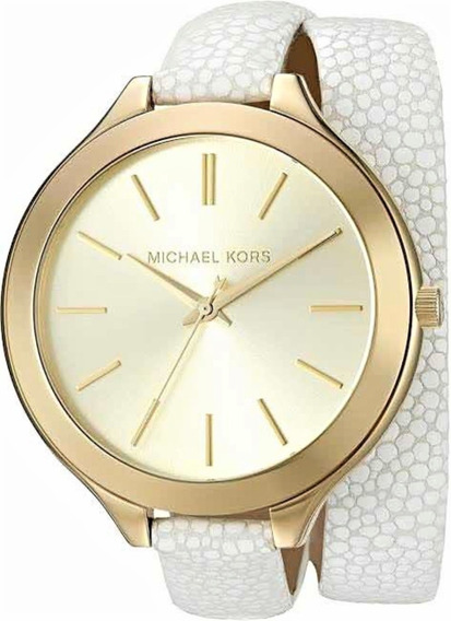 Relógio Feminino Michael Kors Dourado Couro Branco Mk2477