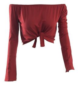 Blusas Femininas Ciganinha Amarrar Cropped Manga Longa #ca