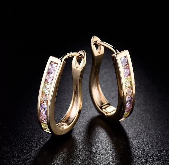 Arete Hoop Multicolor Oro Laminado Arracada Con Cristales