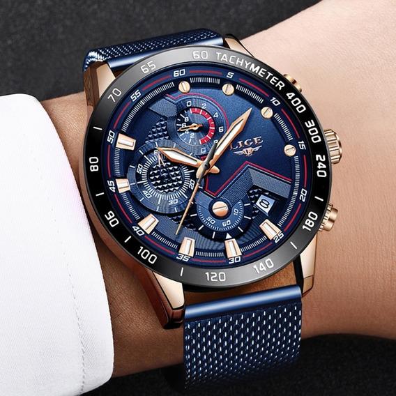 Relógio Masculino Pulseira Em Aço Inox Fecho Mesh Lige 992
