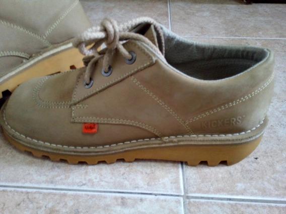 Zapatos Kickers Talla 40 Caqui Claros Cuero