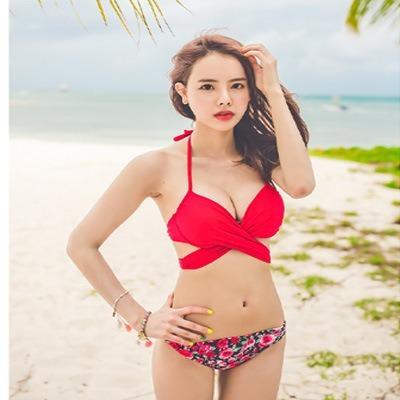 Traje De Baño Bikini Sexy Estilo Europeo Dividido Floral