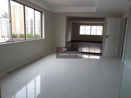 Apartamento Com 3 Dormitórios À Venda, 167 M² Por R$ 950.000,00 - Gonzaga - Santos/sp - Ap2757