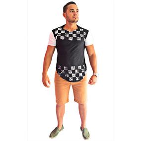6521b6313 Camiseta Oversized Camisa Swag Masculina Longline Xadrez