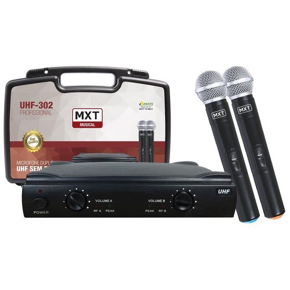 Microfone Sem Fio Duplo Maleta Uhf Wireless Profissional Mxt