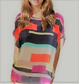 Blusa Camisa Feminina Chifon Geométrica Listras Coloridas