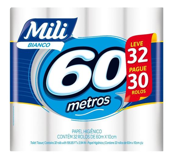 Papel Higiênico 60m Mili Bianco Ne L32p30 32 Rolos