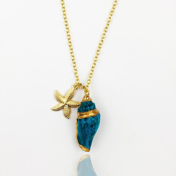 Colar Concha Azul Fundo Do Mar
