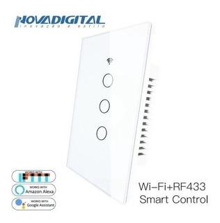 Nova Interruptor Touch Led 3 Botões Rf433 Wi-fi Google Home