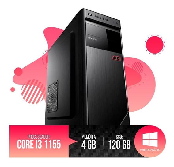 Desktop Pc I3 1155 4gb Ram, Hd Ssd 120gb, Garantia De 01 Ano