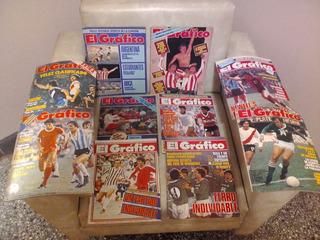 Lote 10 Revistas El Gráfico. Tapas De Diversos Clubes.