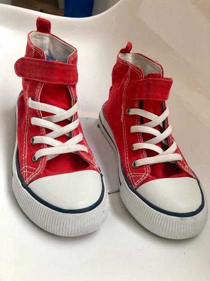 Zapatillas H&m Botitas Con Velcro Nena/e Talle 30 Rojas