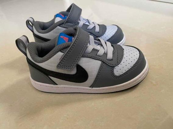Tênis Nike 8c Em Couro Cinza E Branco