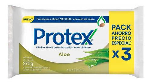 Protex Aloe Jabon Antibacterial En Barra Pack 3 Un X 90 Gr