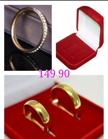 Par Alianças Banhadas A Ouro 18 K +anel Aparador