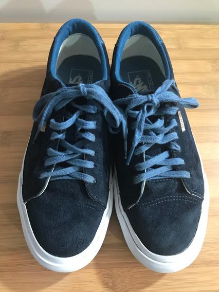 Tênis Vans New Nib Court Midnight Navy Blue Azul Suede Couro