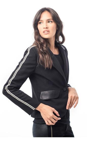 Blazer Mujer Cuero Elastizado Negro Blanco Campera Giacca
