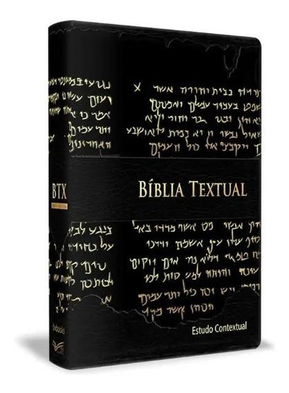 Bíblia De Estudo Textual Luxo Preta Contexto Bíblico Bvbooks