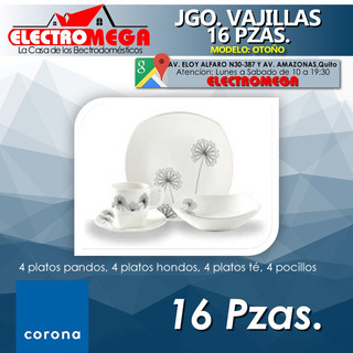 Juego De Vajilla Corona 16 Piezas Otoño