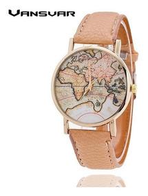 Relógio Mapa Mundi Feminino Pulseira Em Couro Preço Bacana