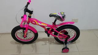 Bicicleta Niños Fat Bike Sbk Rodado 16 Rosa Verde Celeste