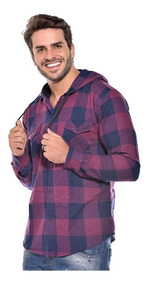 Camisa Masculina Xadrez Capuz Ref 006