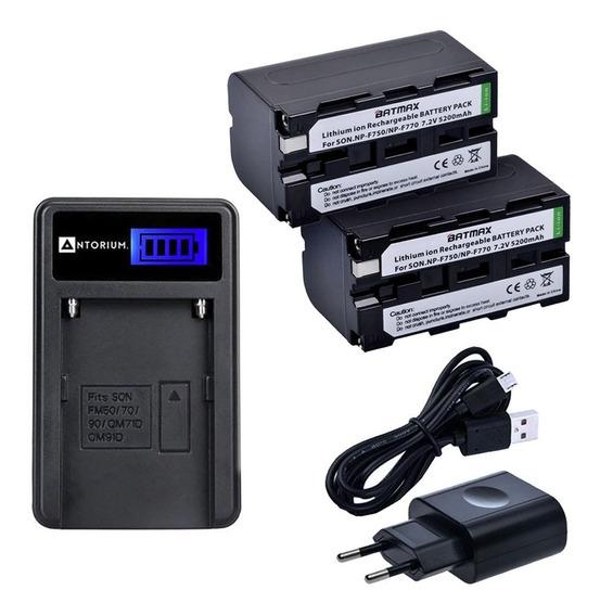 Carregador +2x Bateria Sony F770 F750 Temos F570 F970 Batmax