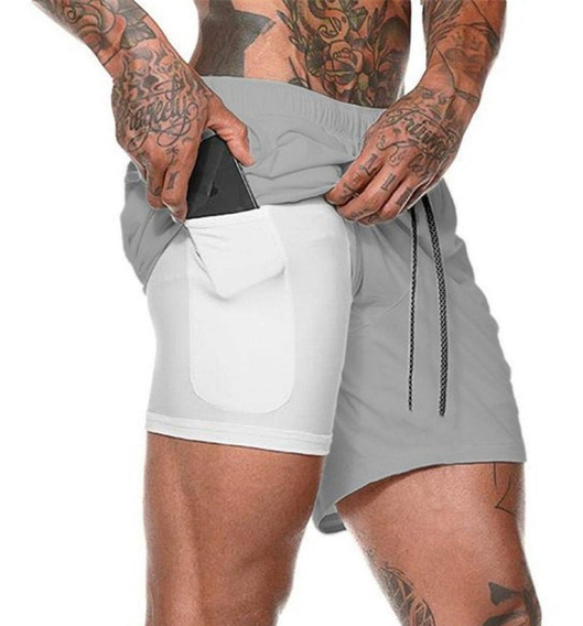 Shorts Fitness 2 Em 1 - Dry Fit E Térmico