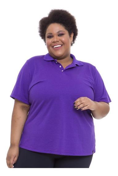Camiseta Gola Polo Plus Size Wonder Size Roxa