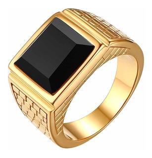 Anel Masculino Comendador Aço Inox Banhado Ouro 18k Dourado