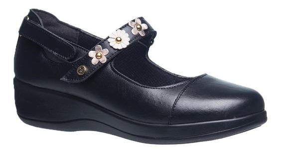 Sapato Feminino Diabético Em Couro Preto Com Flor Metalic/ N