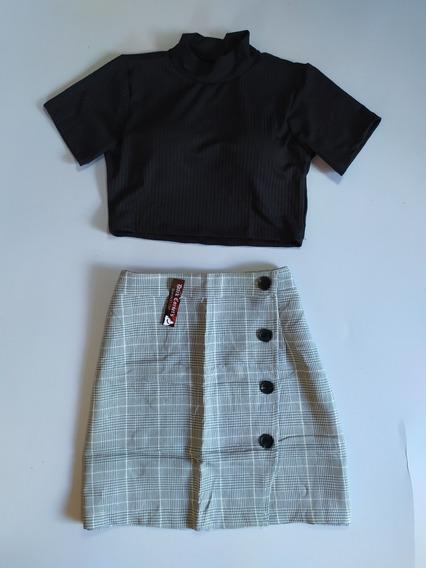 Kit Roupa Vintage Saia+top Frete Único Tumblr Moda Teen